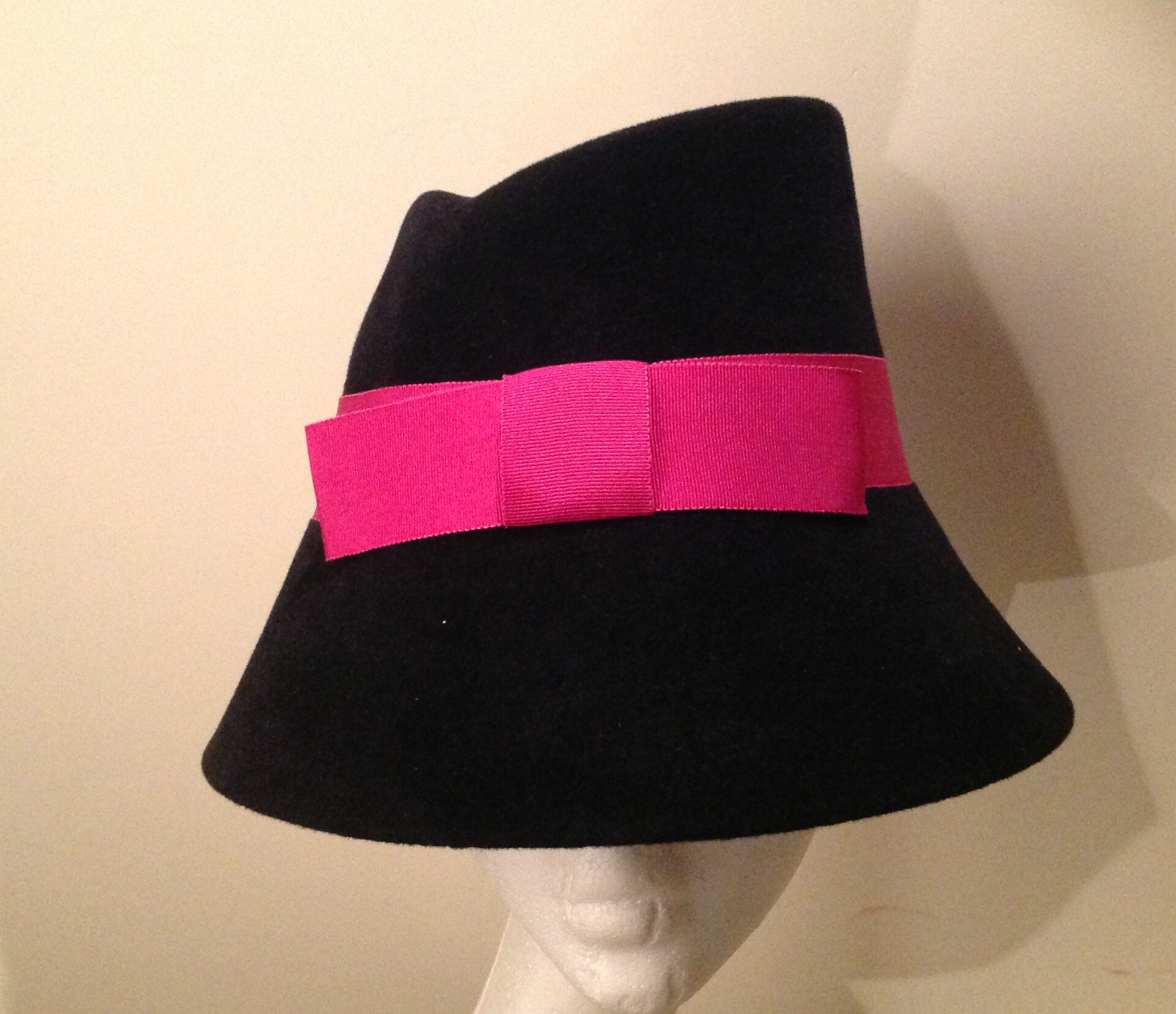 Black Cloche with Pink Bow