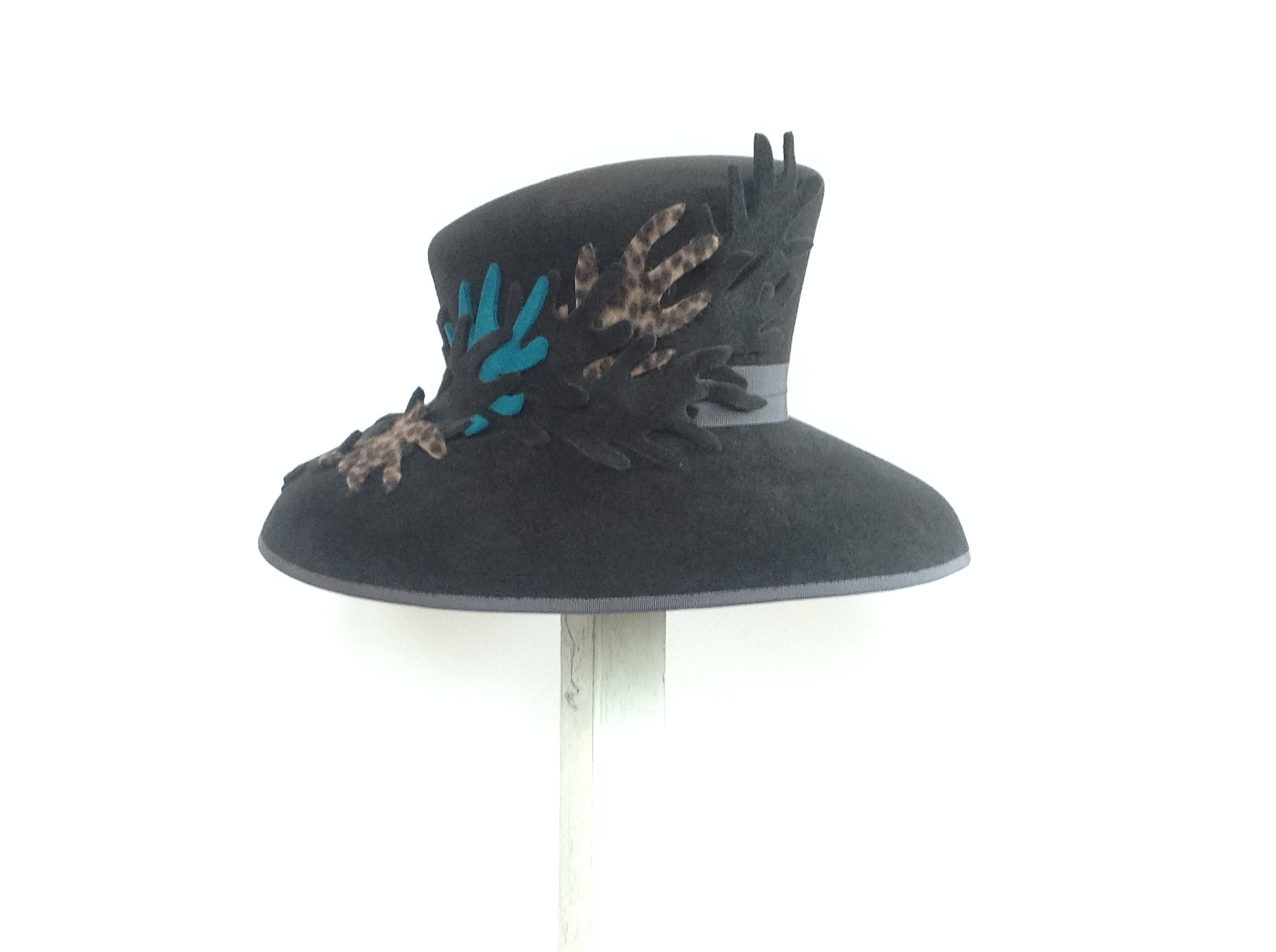 Black with Turquoise and Animal Print