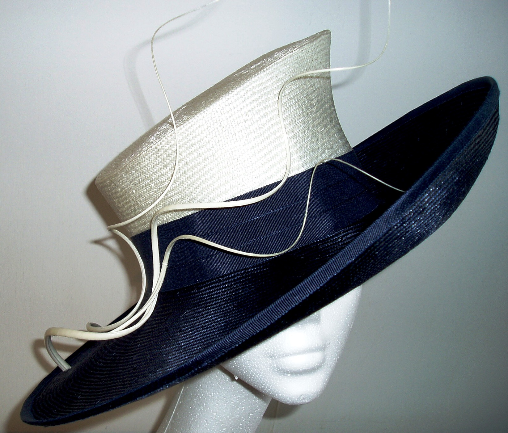Navy and Cream Wide Brim